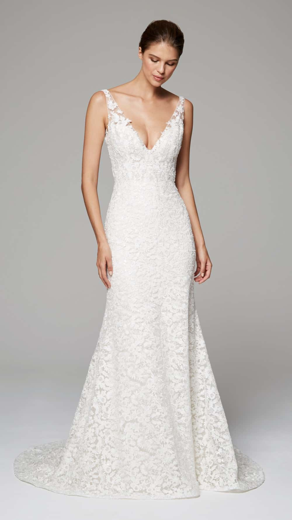 aubrey by anne barge lace v neck wedding dress 2018