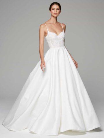 spaghetti strap ballgown wedding dress demi by anne barge