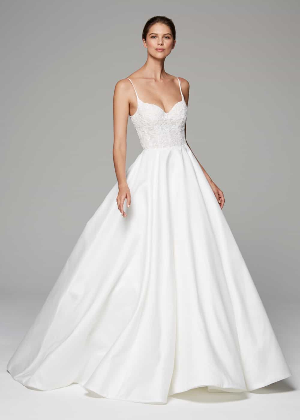 spaghetti strap ballgown wedding dress demi by anne barge
