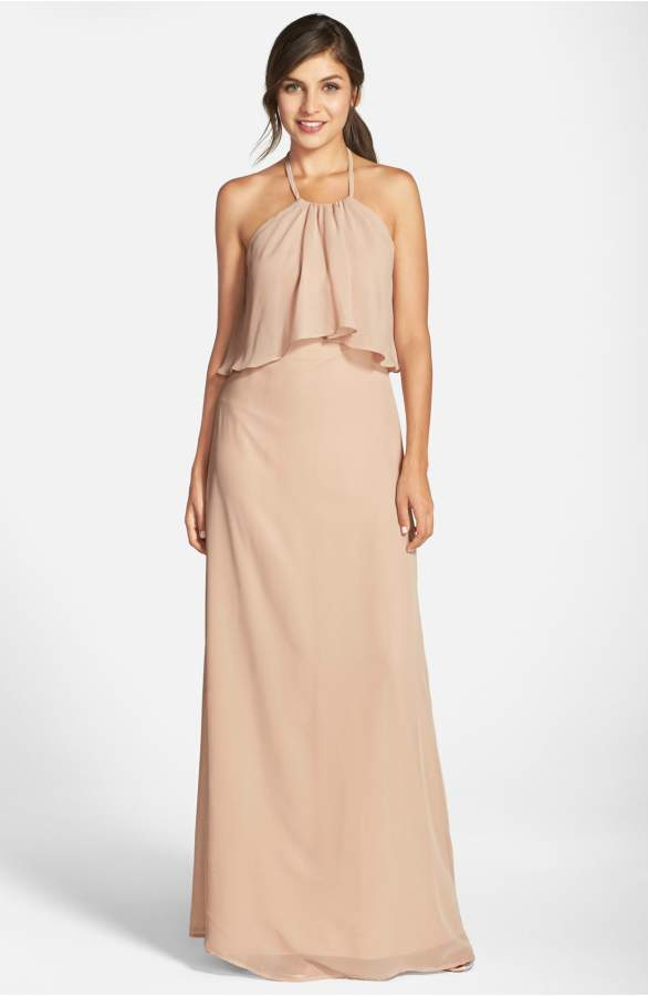 neutral long beachy bridesmaid dresses