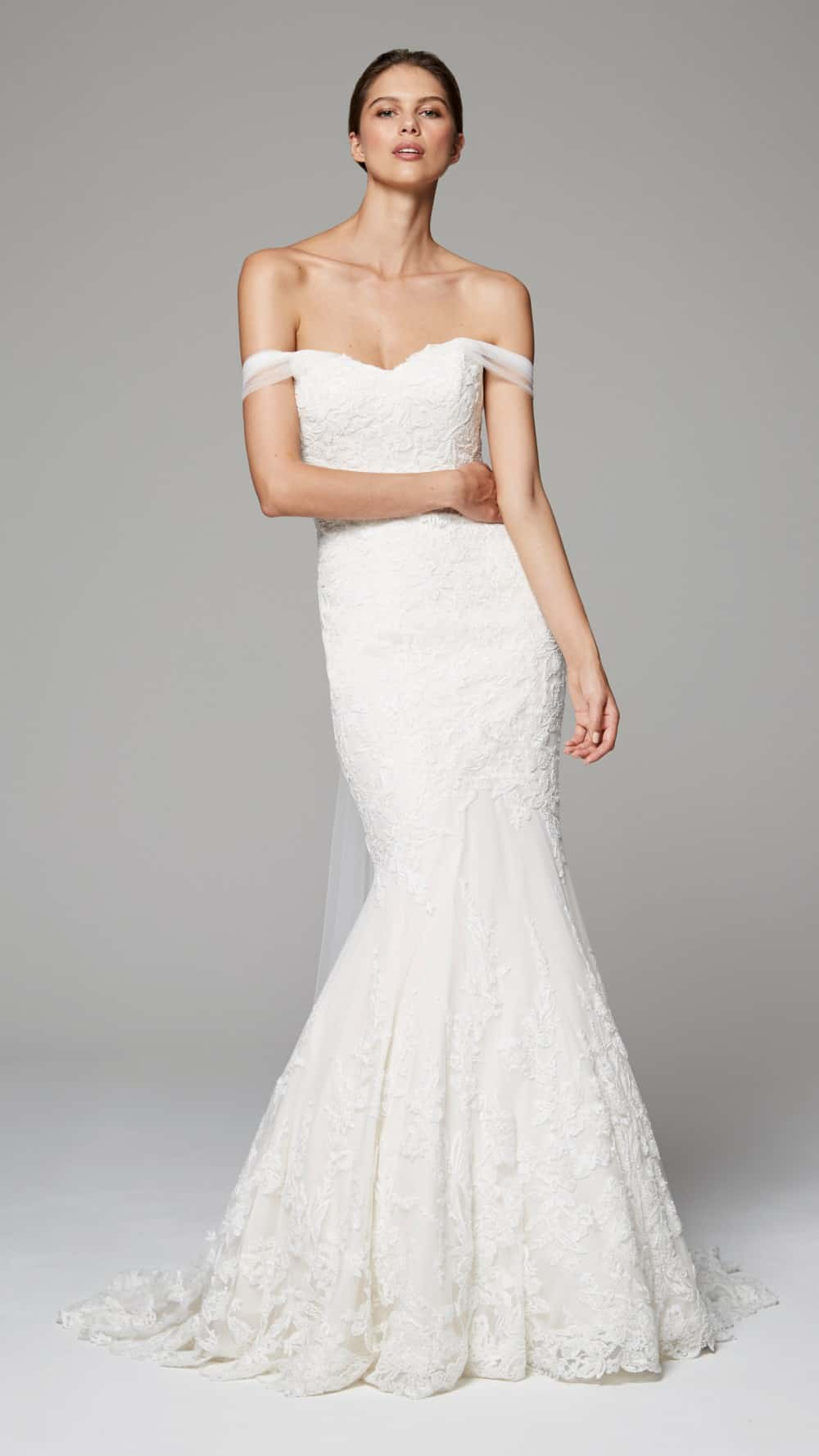 raven by anne barge off-the-shoulder lace wedding dress