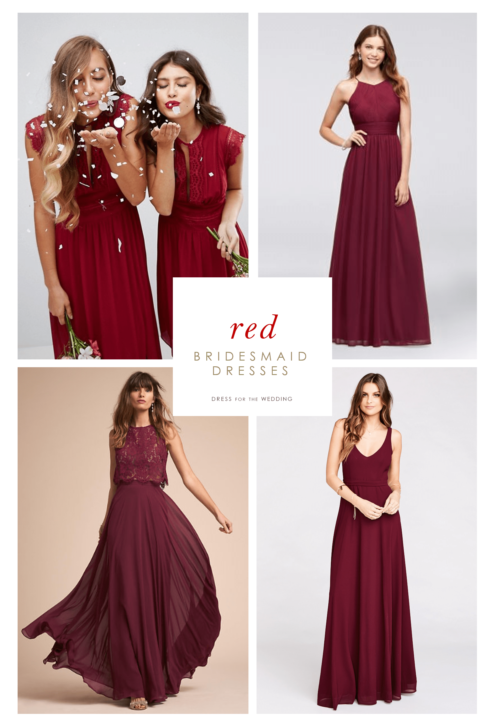burgundy and red bridesmaid dresses
