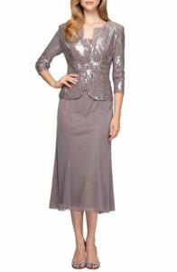 taupe dress with jacket for mob or grandmother of the bride