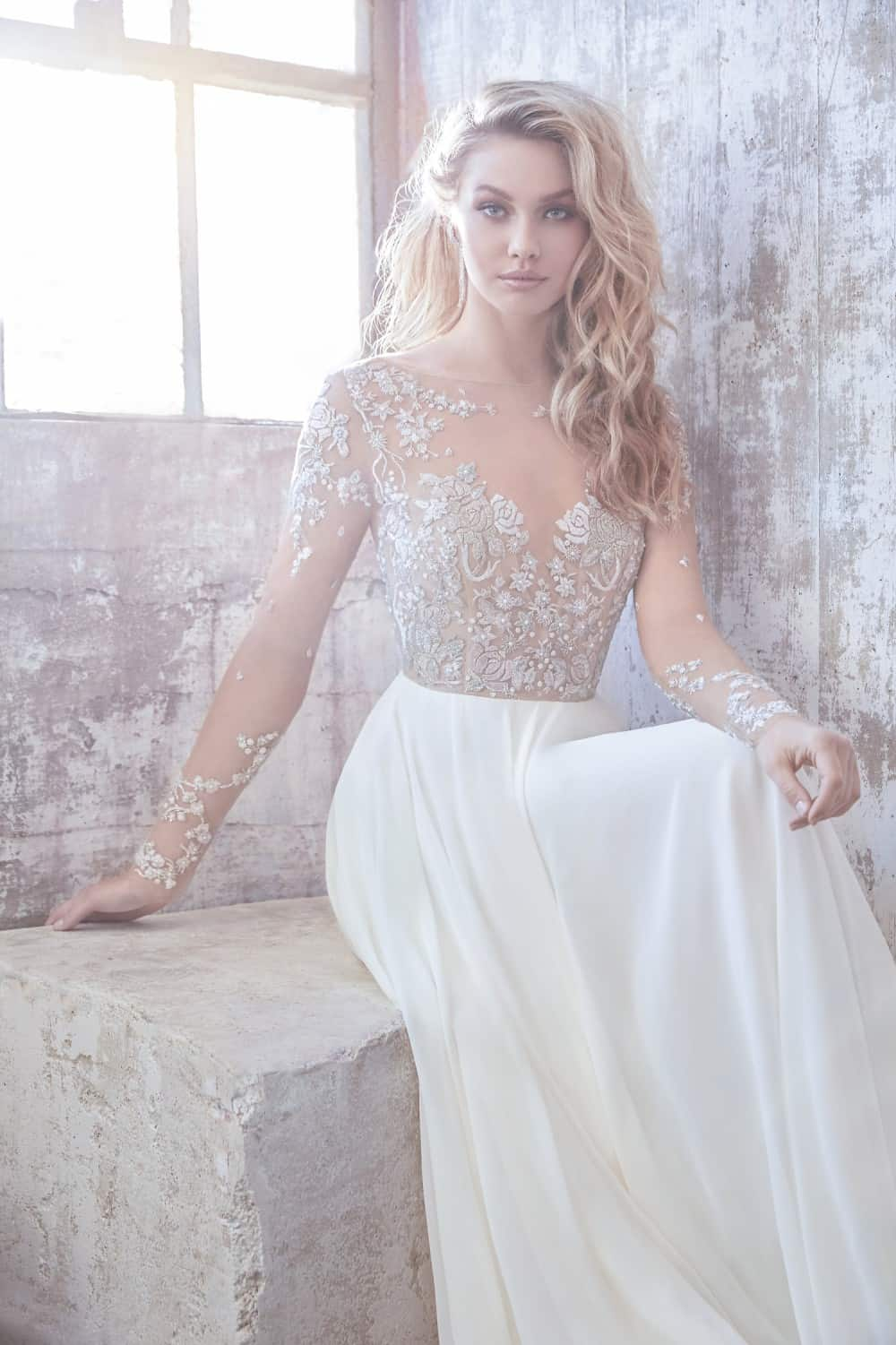 Long sleeve Hayley Paige wedding dress