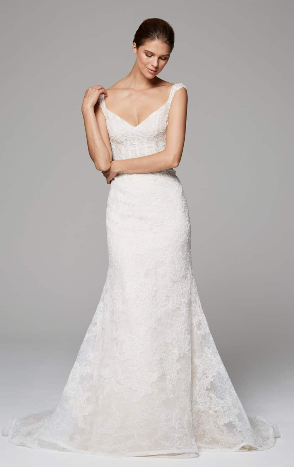 cap sleeve corseted lace wedding dress - zara by anne barge