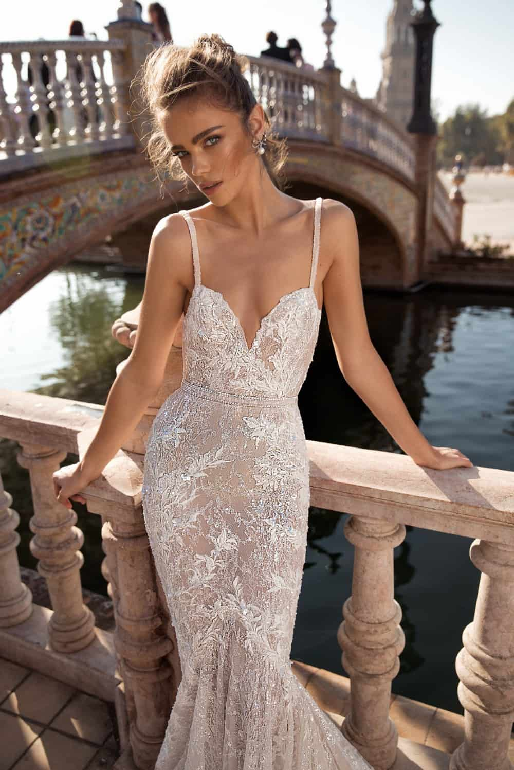 berta bridal wedding dress with spaghetti straps