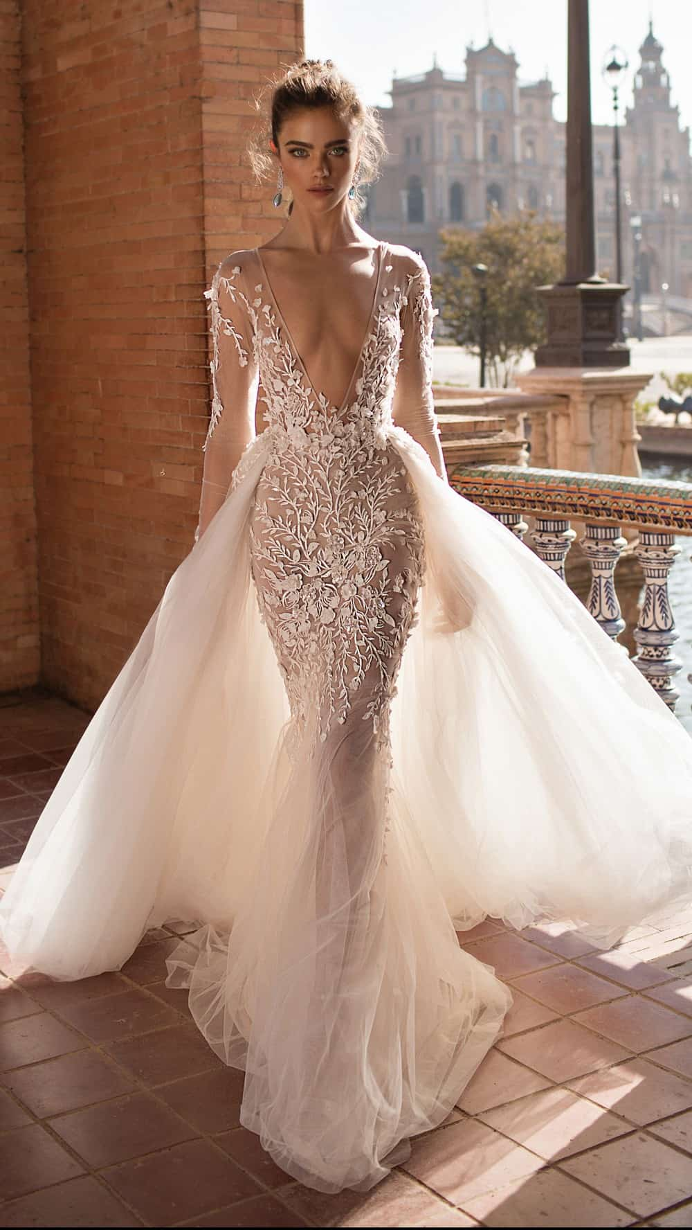 plunging neck wedding dress by Berta Bridal