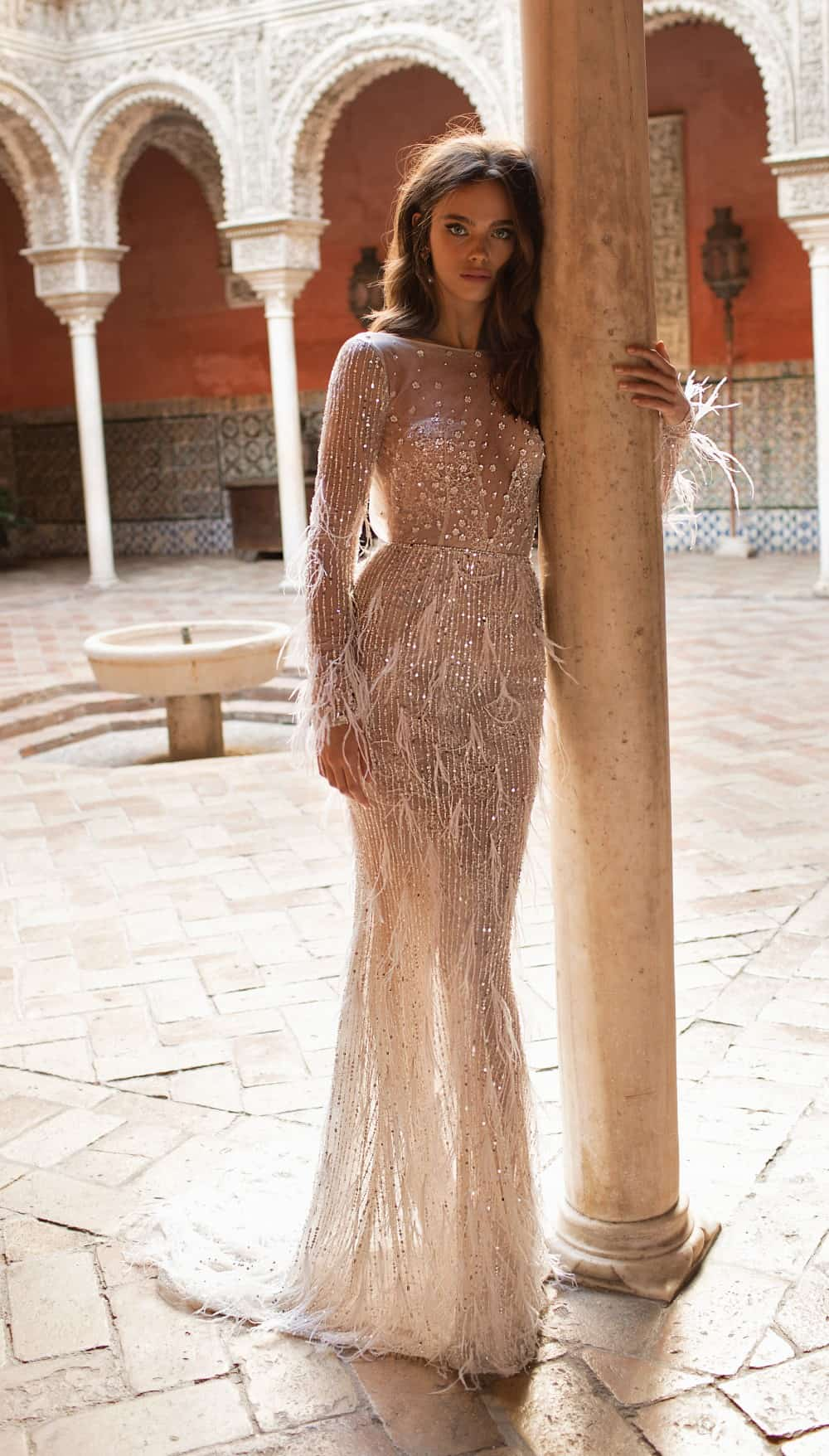 sheer long sleeve berta wedding gown