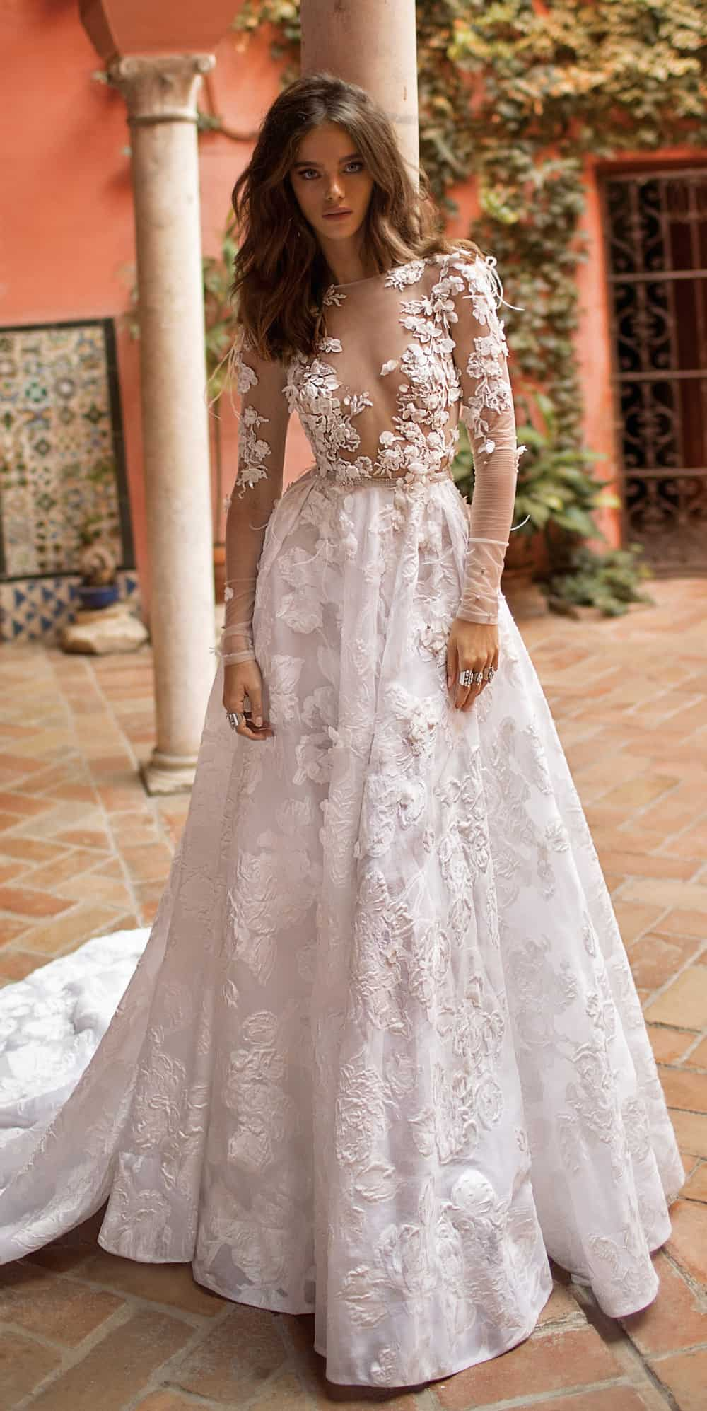 floral embellished berta bridal wedding dress