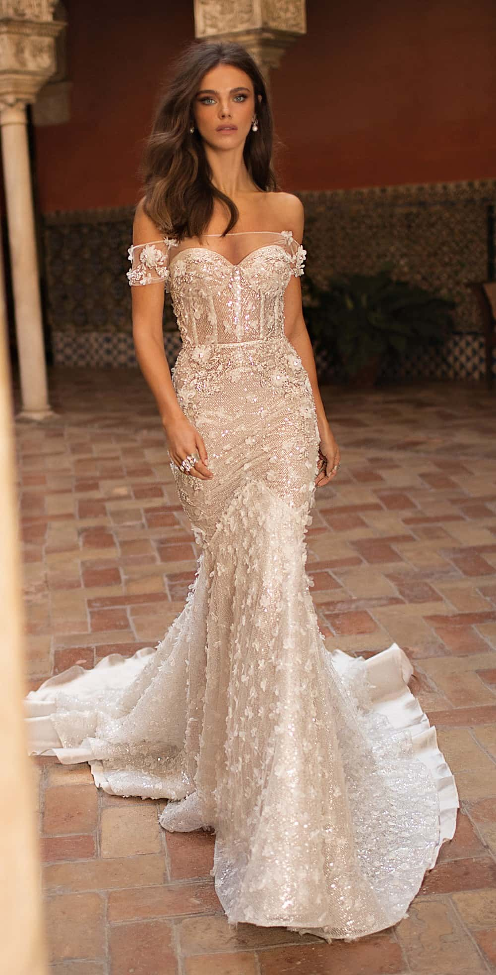 sexy off the shoulder wedding dress | Berta Bridal