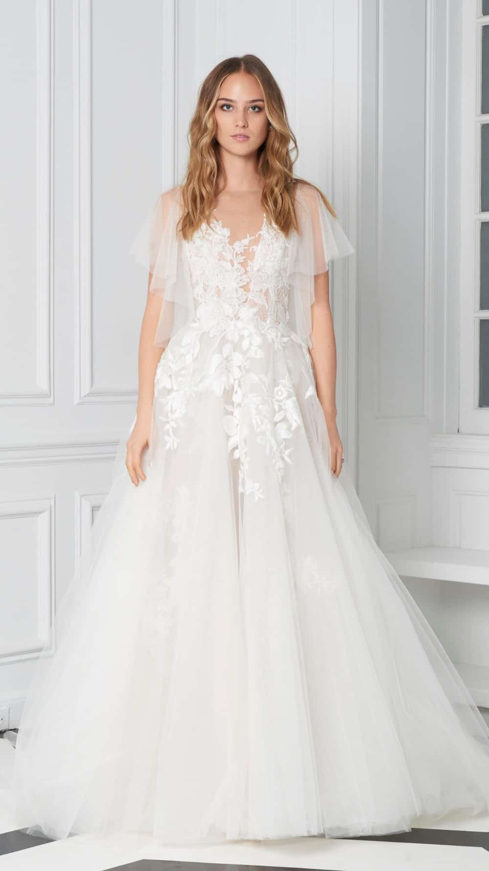 Flutter sleeve sheer wedding dress by Bliss Monique Lhuillier