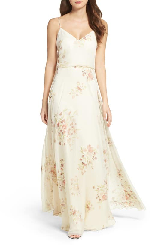 cream colored floral bridesmaid dress by Jenny Yoo