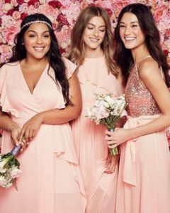 affordable blush bridesmaid dresses from David's Bridal