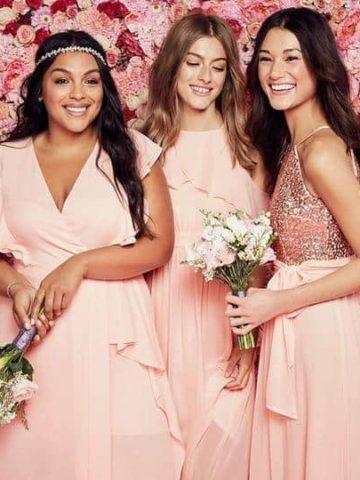 affordable blush bridesmaid dresses from David's Bridal