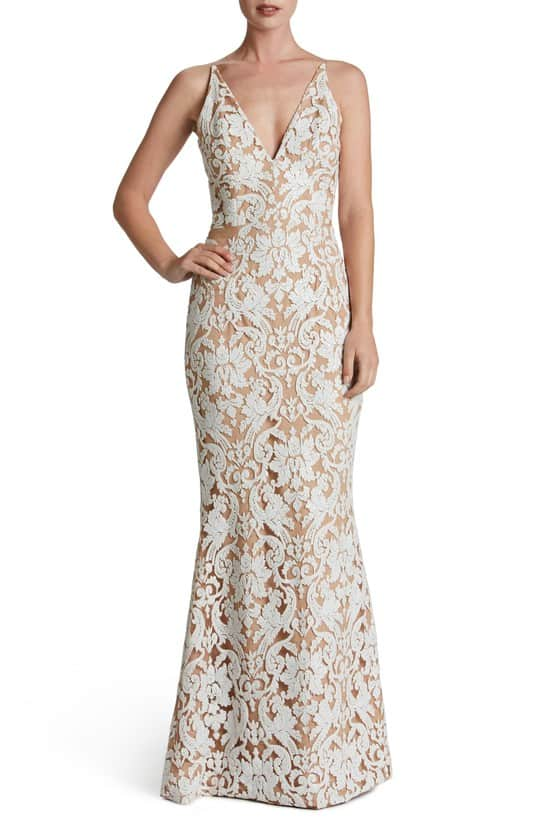 off white and nude lace maxi dress