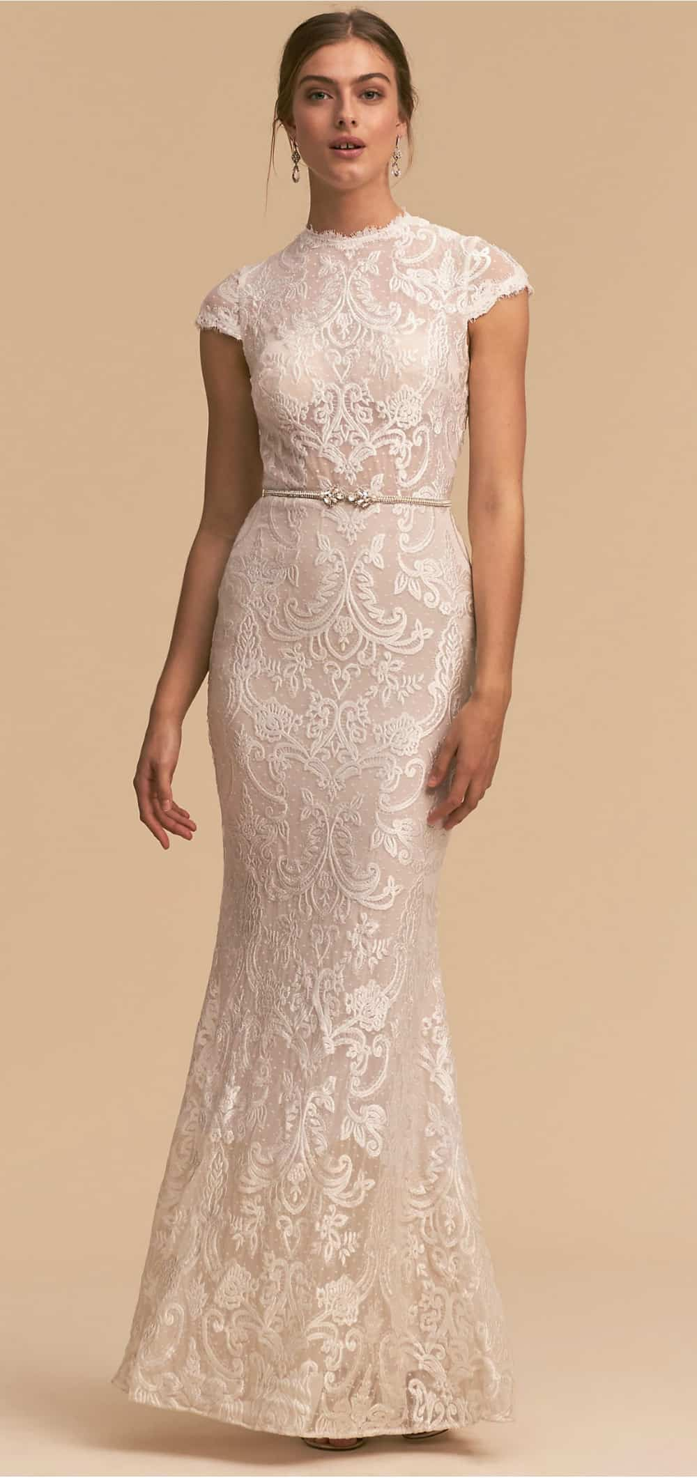 ivory lace gown with short sleeves - beach wedding renewal dresses