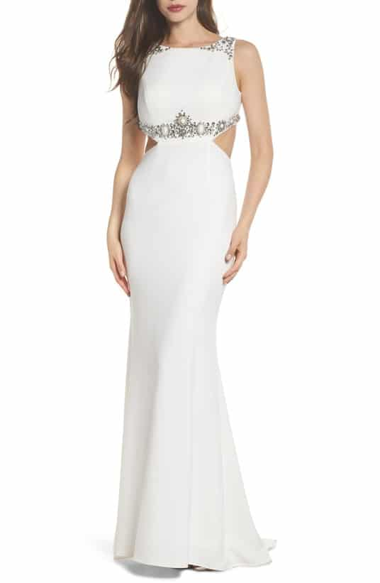 long white gown with cut outs for wedding