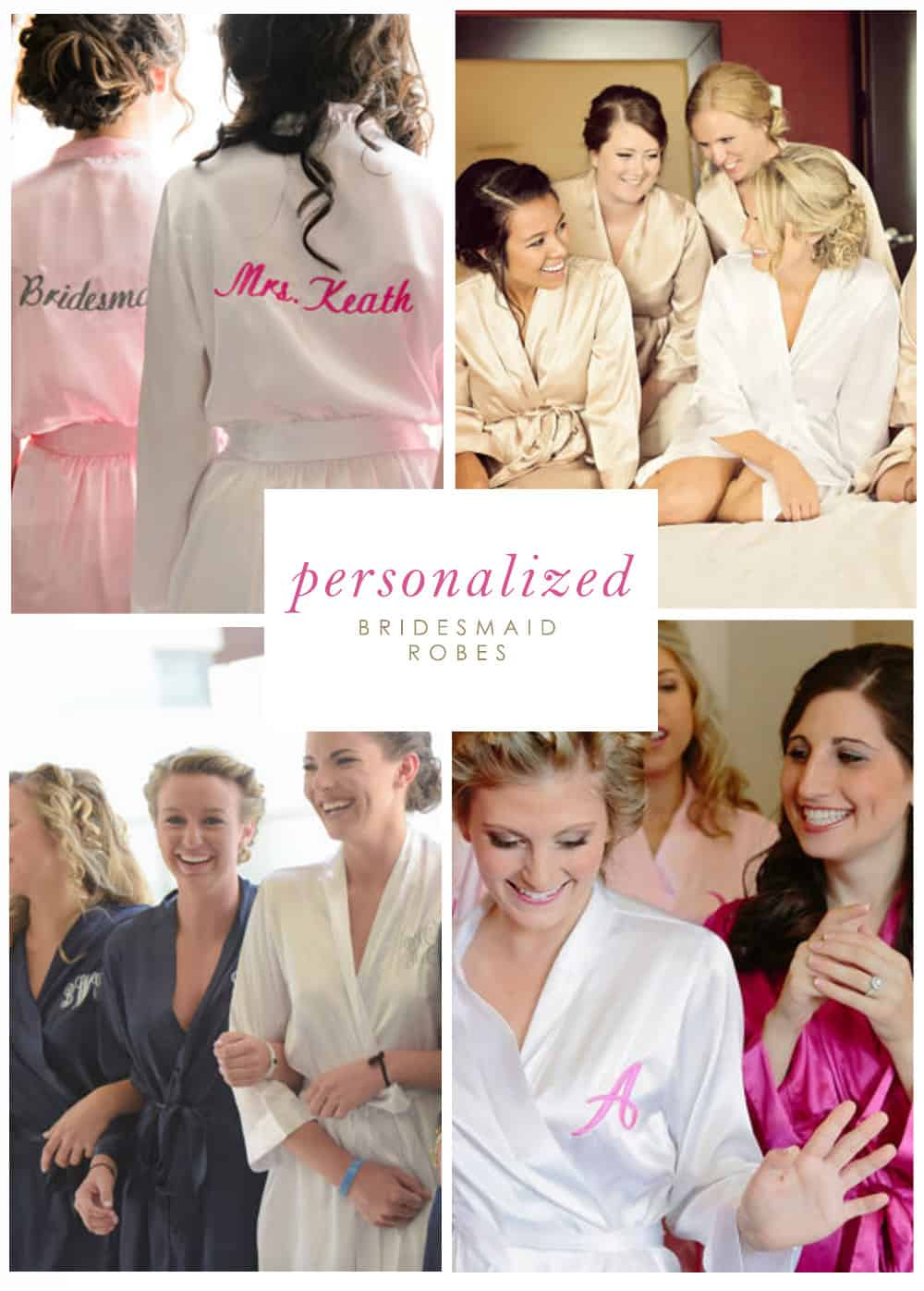 Matching personalized robes for bridesmaids