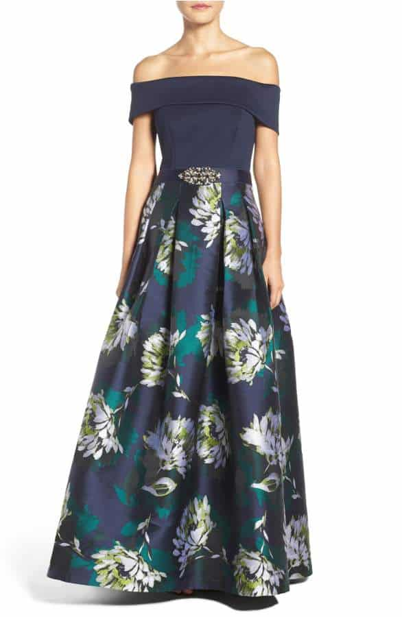 off the shoulder ball gown in navy blue