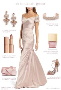 Off-The-Shoulder Gown for a Mother-of-the Bride