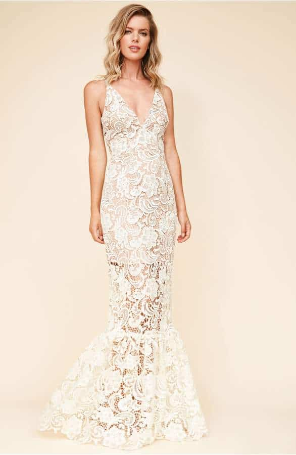 mermaid style maxi dress in white lace