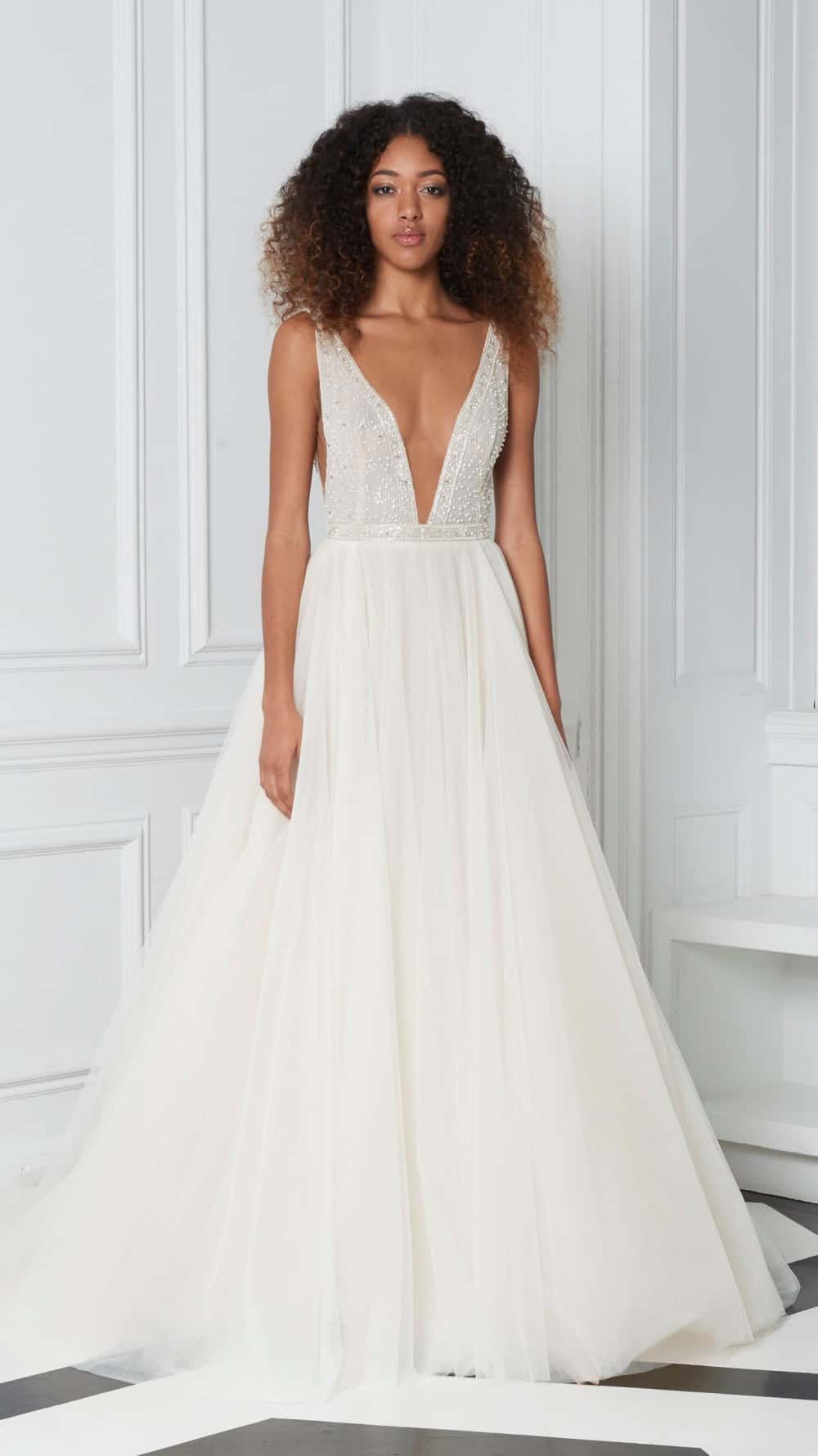 plunge neckline wedding dress by monique lhuillier