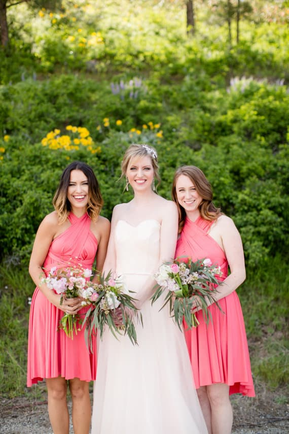 short coral bridesmaid dresses