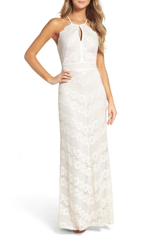 simple lace maxi dress with halter neckline