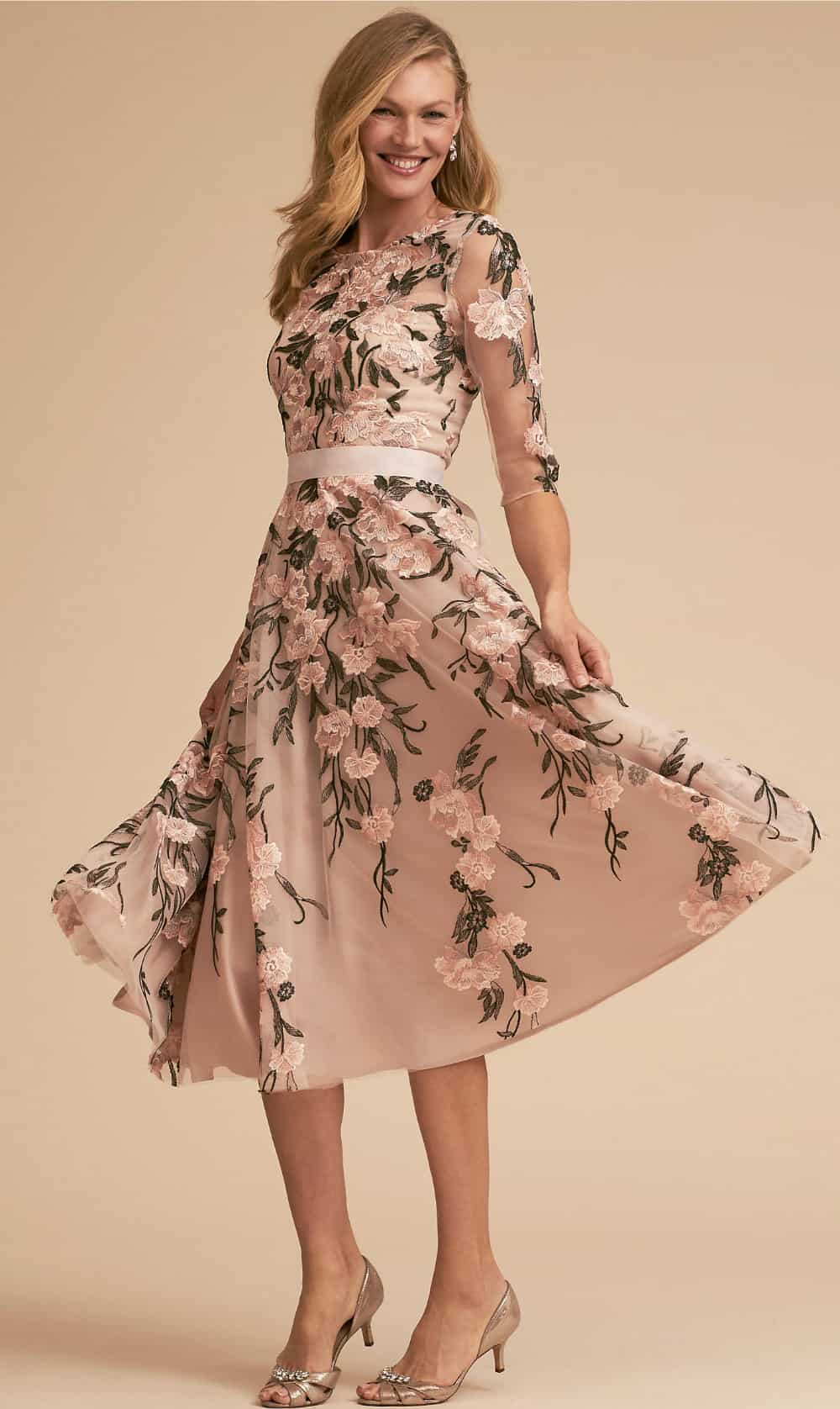 Tea length floral dress with sleeves for mother of the bride