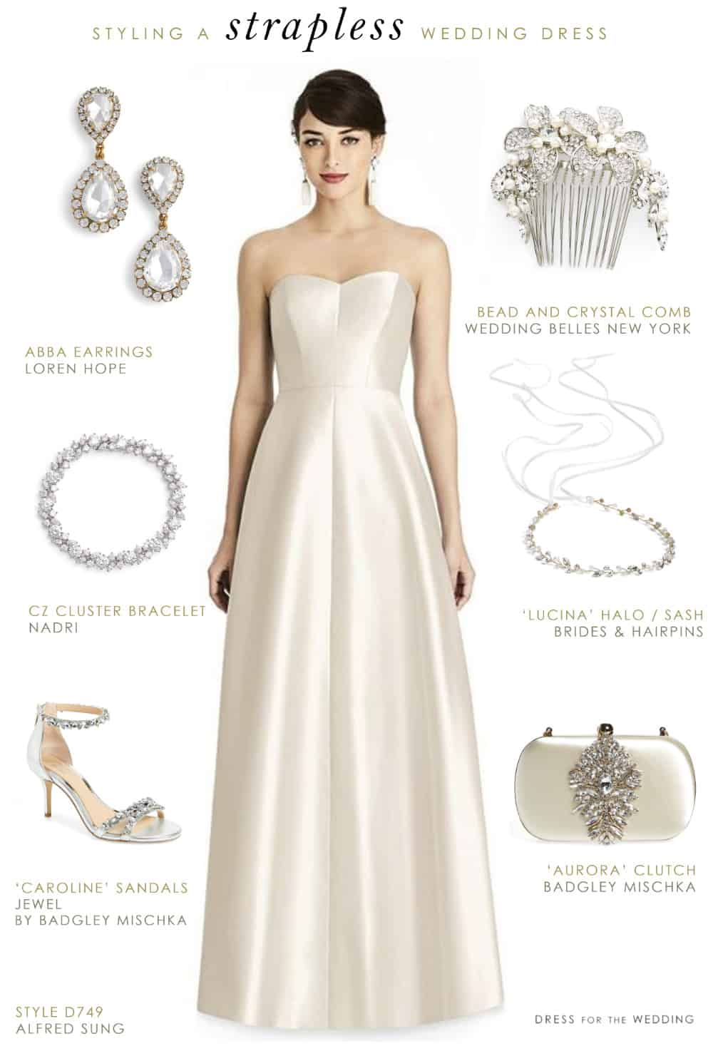 37d14bcfe24 How To Accessorize a Strapless Wedding Dress