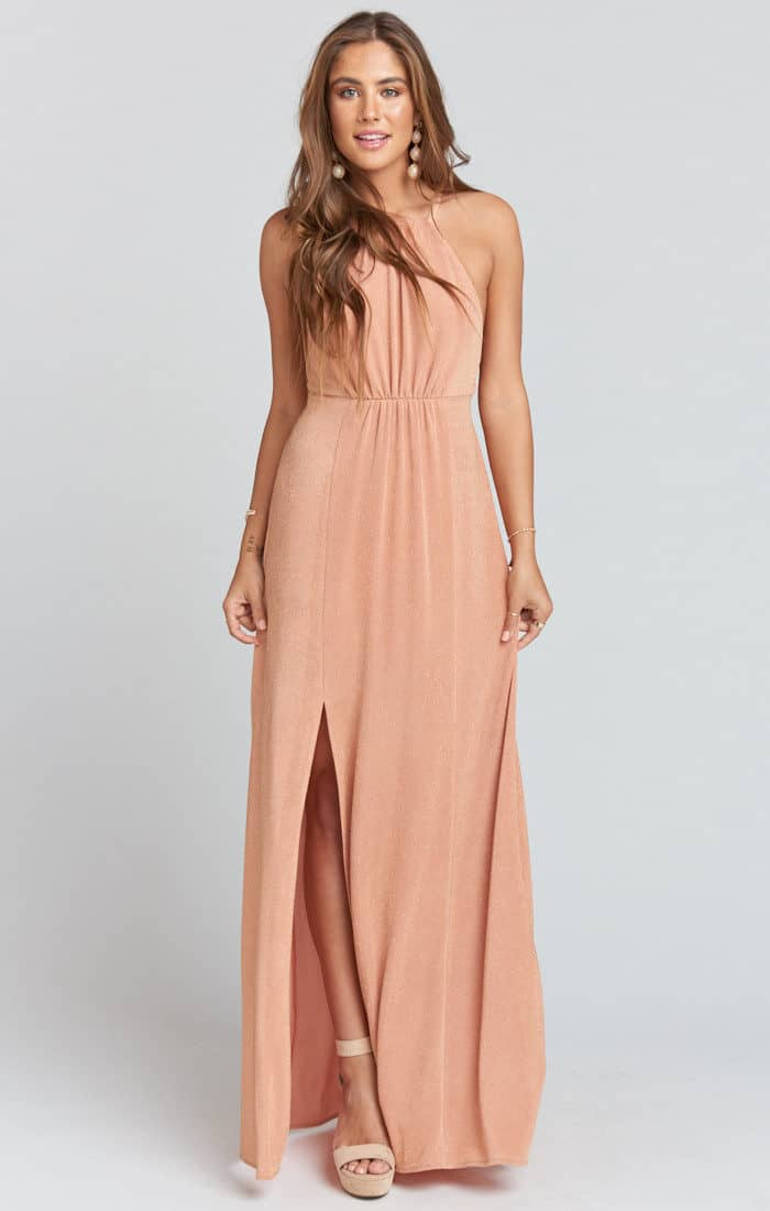 copper rose gold bridesmaid maxi dress