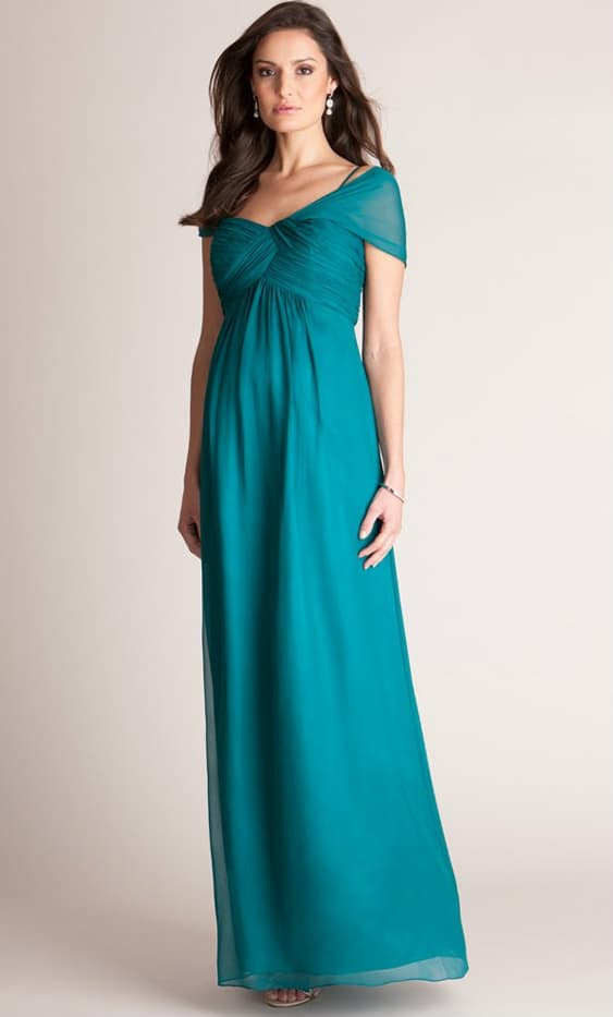 emerald jade green formal maternity gown