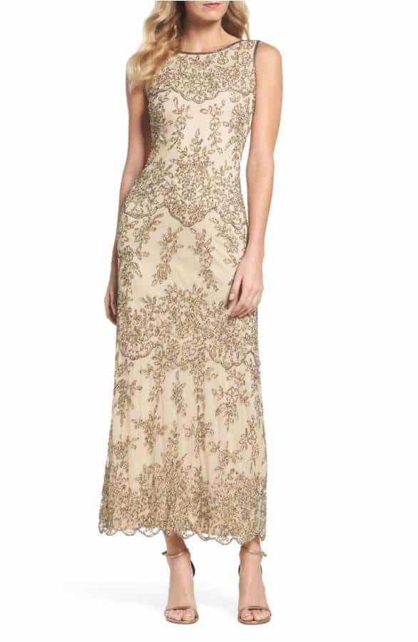 beaded gold dress for the mother of the bride