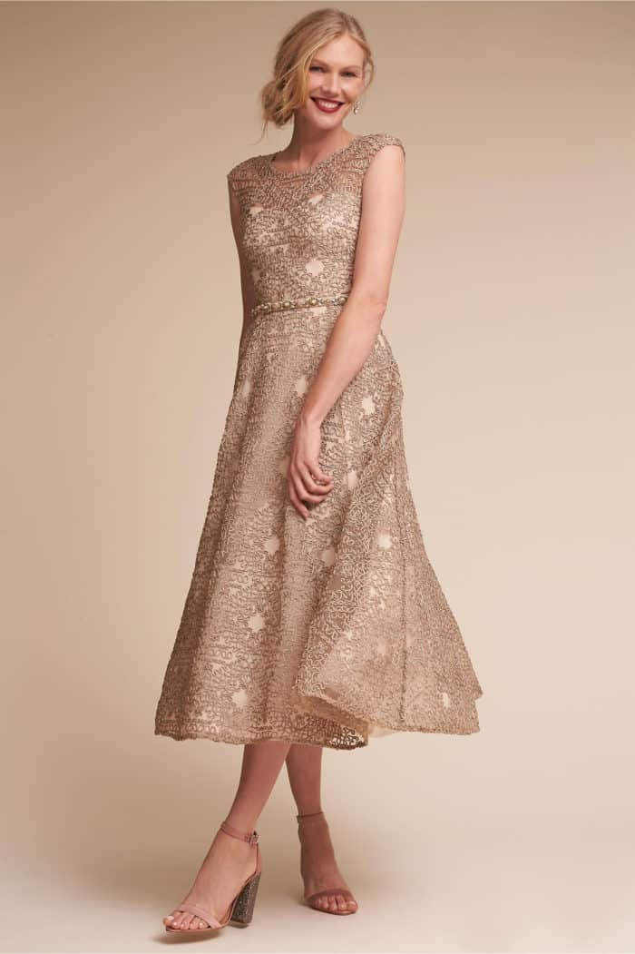gold tea length mother of the bride dress