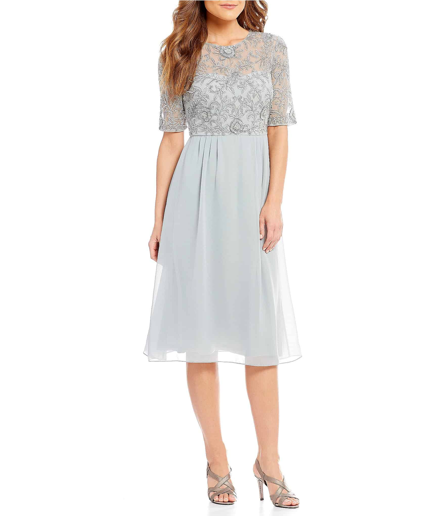 light blue short mother bride dress with short sleeves