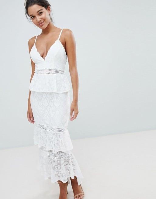 little white lace midi dress