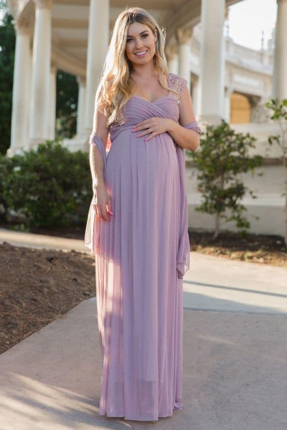 93b14417ae6c3 Formal Mauve Maternity Dress with Lace Detail. I also love this  goddess-like gown; The Lace Accent Chiffon Gown from Pink Blush.