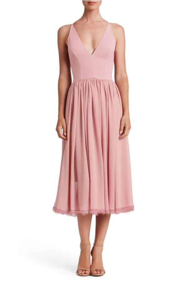midi length dusty pink dress for wedding