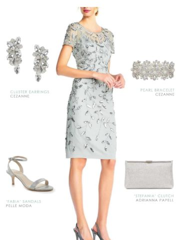 mint green beaded cocktail dress for a wedding or mother of the bride