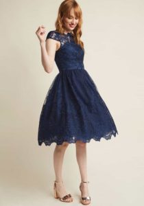 dark blue dress for a wedding guest
