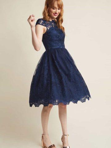 dark blue dress for a wedding guest