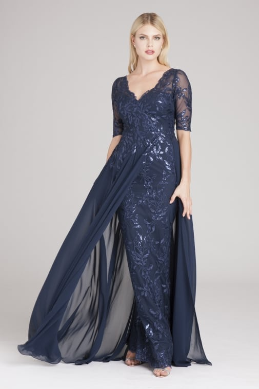 navy blue mother of the bride gown with short sleeves