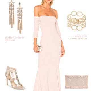 off the shoulder blush maxi dress