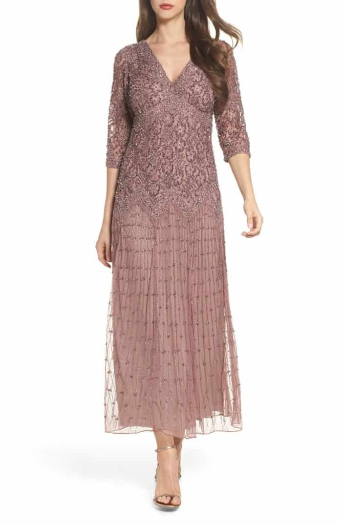 long sleeve rose gold gown for mother of the bride or groom