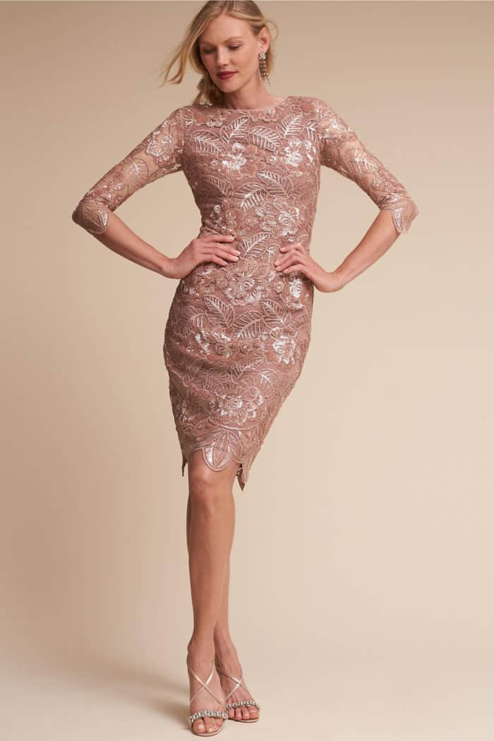 rose gold lace dress with sleeves