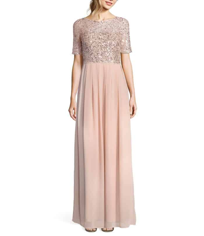 rose gold sequin top empire waisted gown