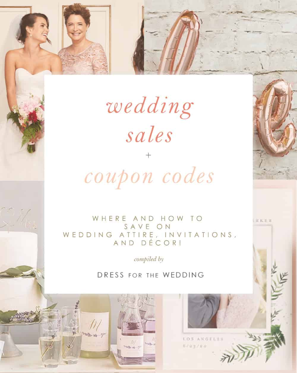 coupon codes, sales and promo codes to save money on your wedding