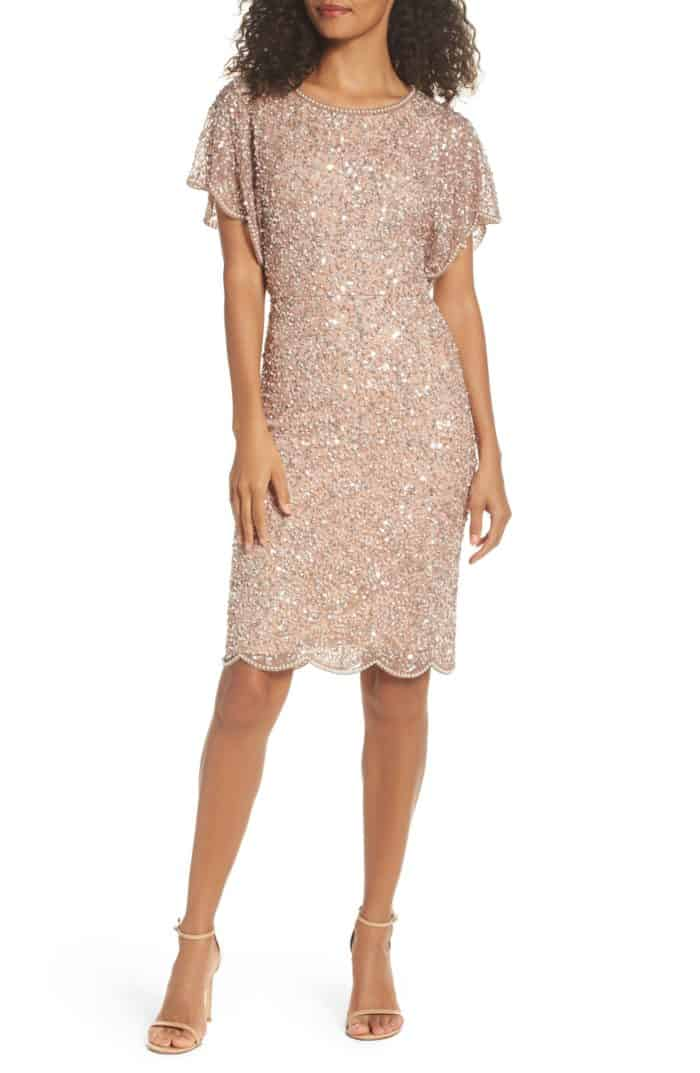 short rose gold sequin dress for the mother of the bride
