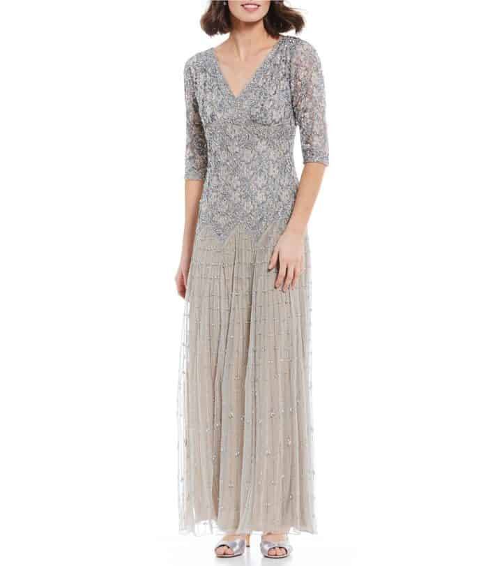 silver beaded mother of the bride dress with sleeves