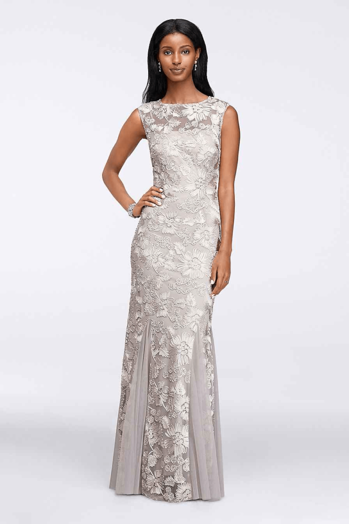 silver embroidered gown for mother of the bride